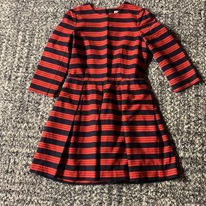 Gap Fit & Flare, Red Navy Stripe Dress, 8